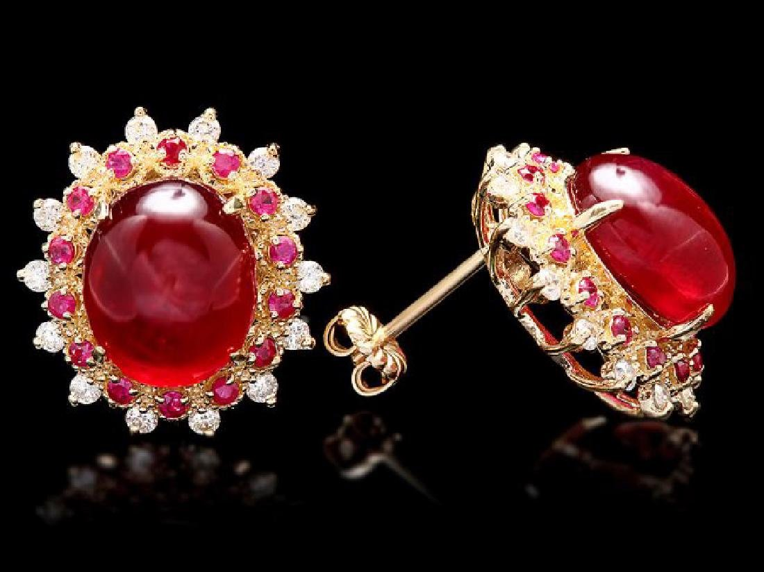 14k Gold 17.65ct Ruby 0.80ct Diamond Earrings - 3