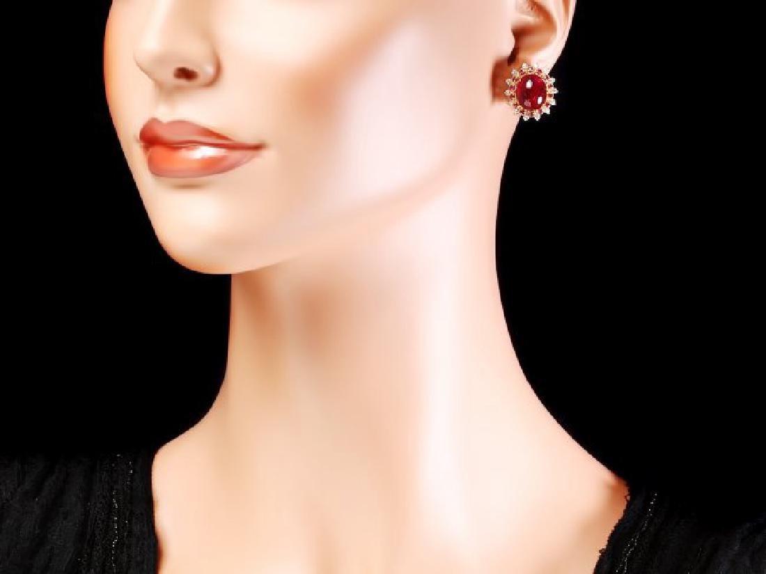 14k Gold 17.65ct Ruby 0.80ct Diamond Earrings - 4