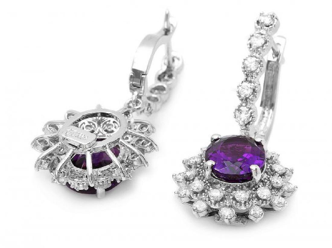 14k Gold 5ct Amethyst 1.95ct Diamond Earrings - 2