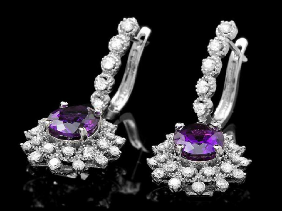 14k Gold 5ct Amethyst 1.95ct Diamond Earrings - 3