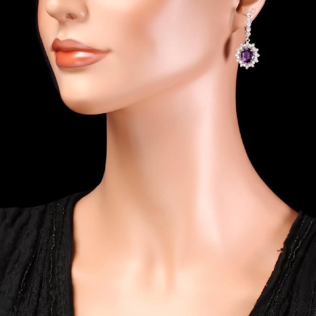 14k Gold 5ct Amethyst 1.95ct Diamond Earrings - 4