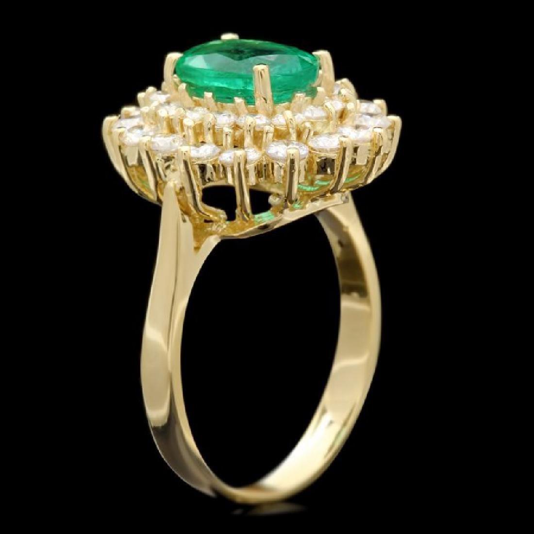 18k Gold 1.75ct Emerald 1.50ct Diamond Ring - 3