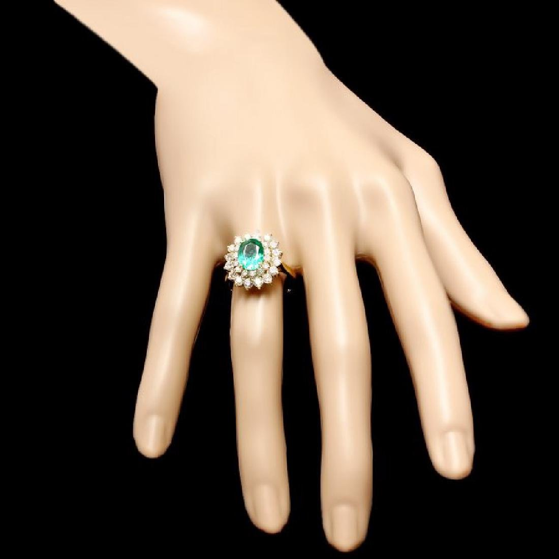 18k Gold 1.75ct Emerald 1.50ct Diamond Ring - 4