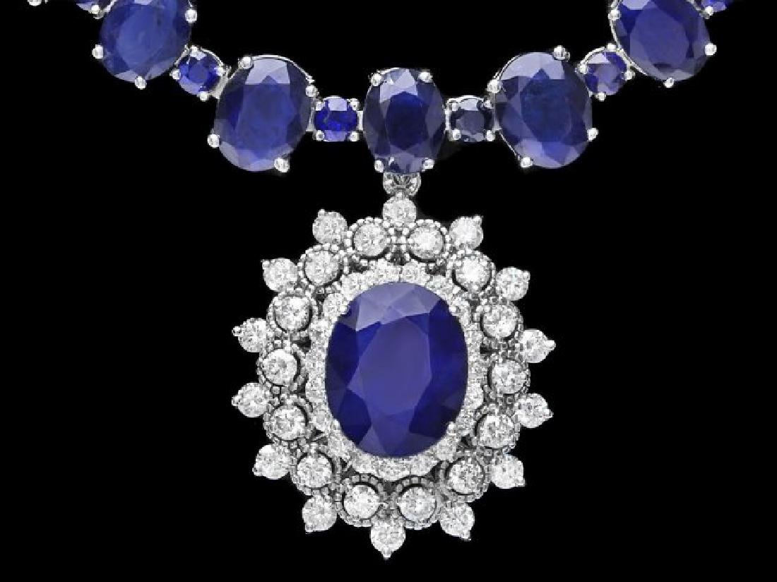 14k Gold 87ct Sapphire 2.50ct Diamond Necklace