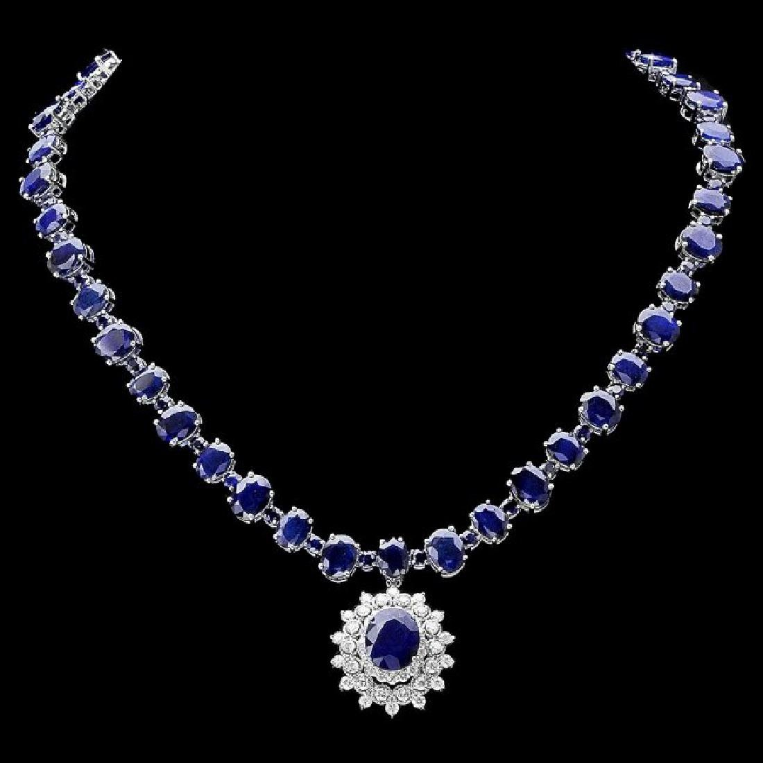 14k Gold 87ct Sapphire 2.50ct Diamond Necklace - 2