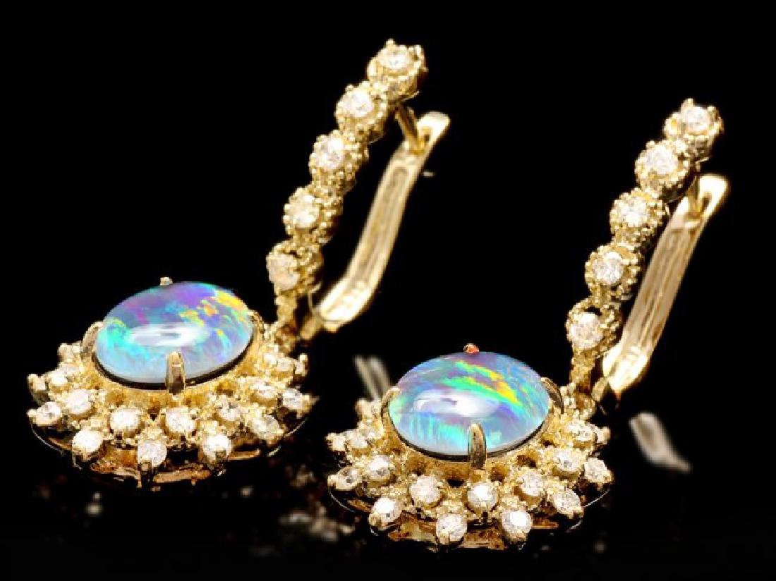 14k Gold 3.70ct Opal 1.30ct Diamond Earrings - 3