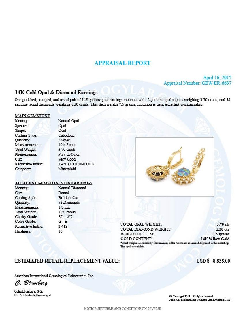 14k Gold 3.70ct Opal 1.30ct Diamond Earrings - 5