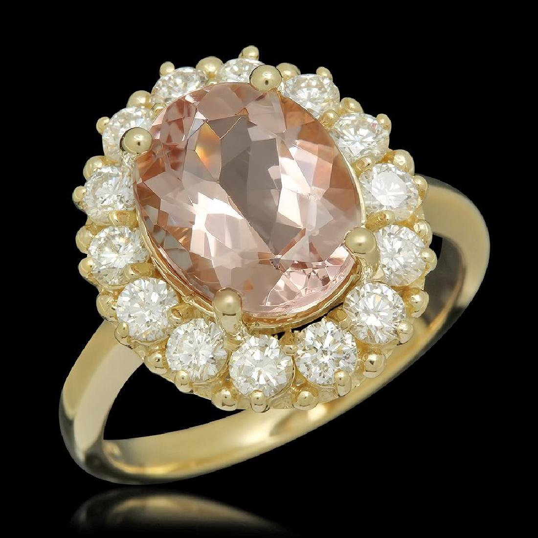 14K Gold 3.23ct Morganite 1.09ct Diamond Ring