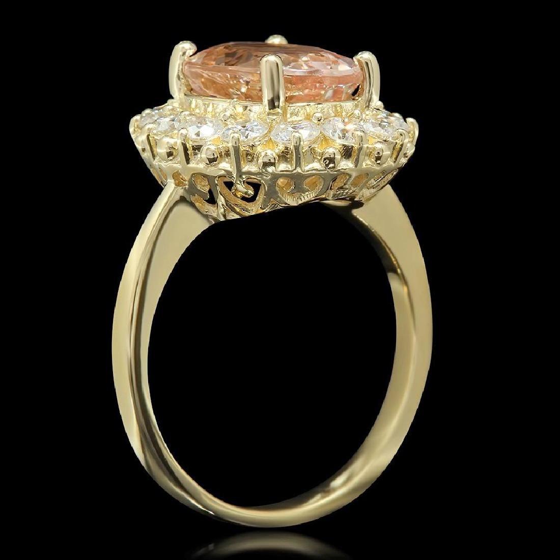 14K Gold 3.23ct Morganite 1.09ct Diamond Ring - 2