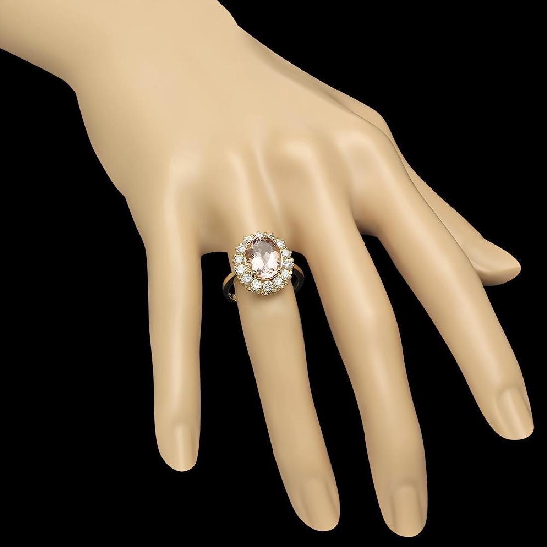 14K Gold 3.23ct Morganite 1.09ct Diamond Ring - 3