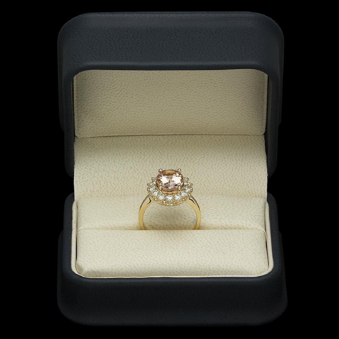 14K Gold 3.23ct Morganite 1.09ct Diamond Ring - 4