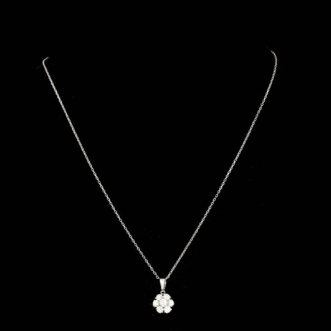 14k White Gold 0.90ct Diamond Pendant - 2