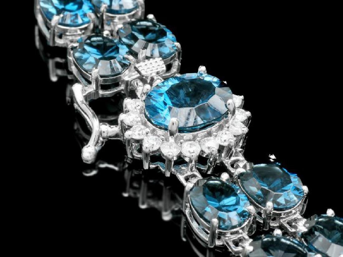 14k Gold 48.5ct Topaz 0.60ct Diamond Bracelet - 2