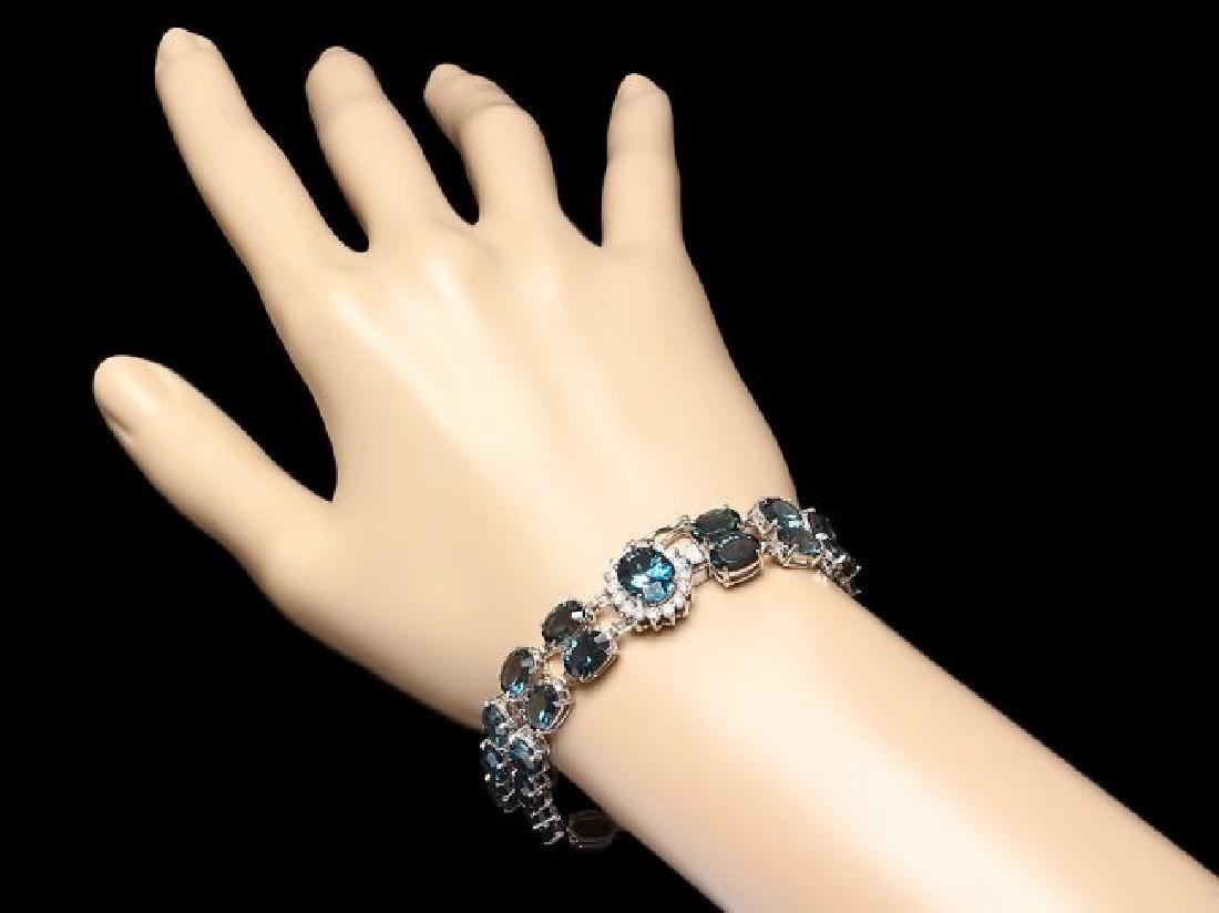 14k Gold 48.5ct Topaz 0.60ct Diamond Bracelet - 3