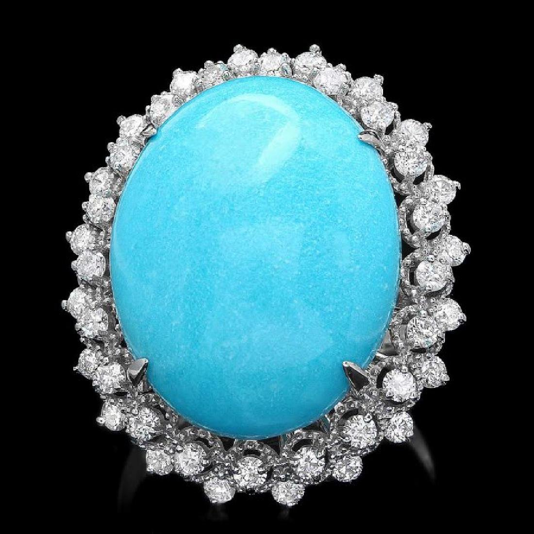 14k Gold 18.50ct Turquoise 1.00ct Diamond Ring