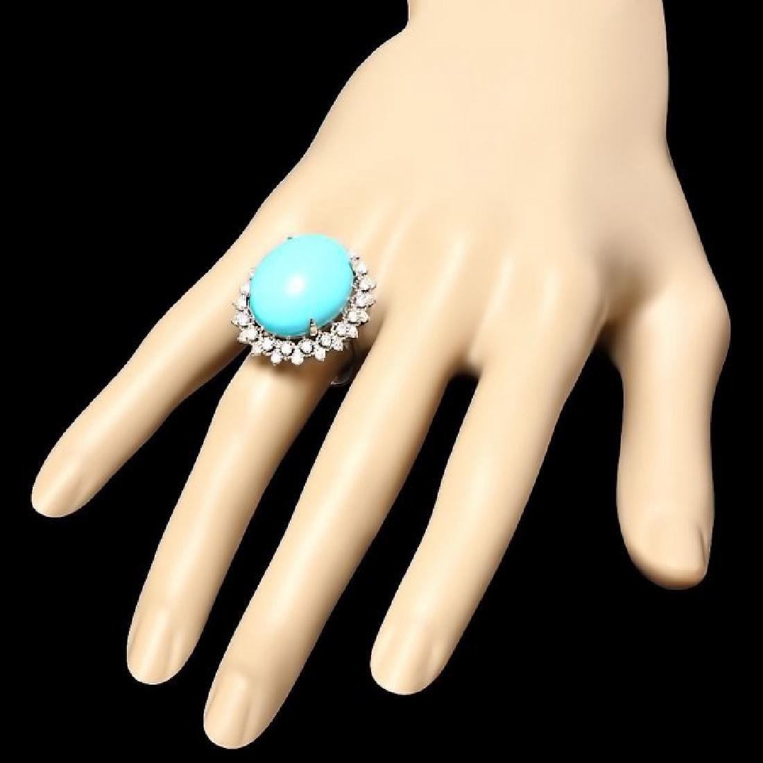 14k Gold 18.50ct Turquoise 1.00ct Diamond Ring - 3