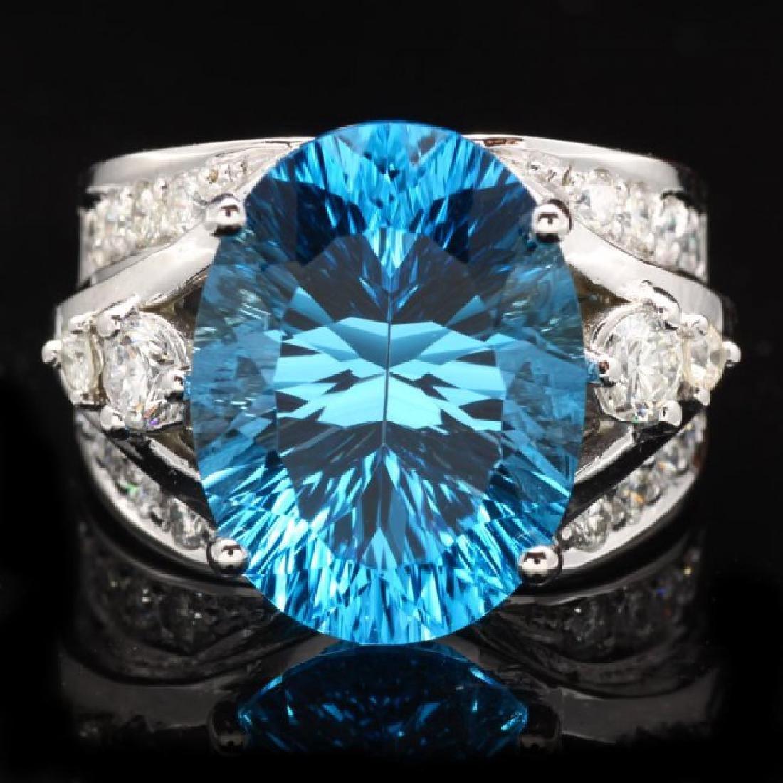 14k White Gold 11.00ct Topaz 1.10ct Diamond Ring