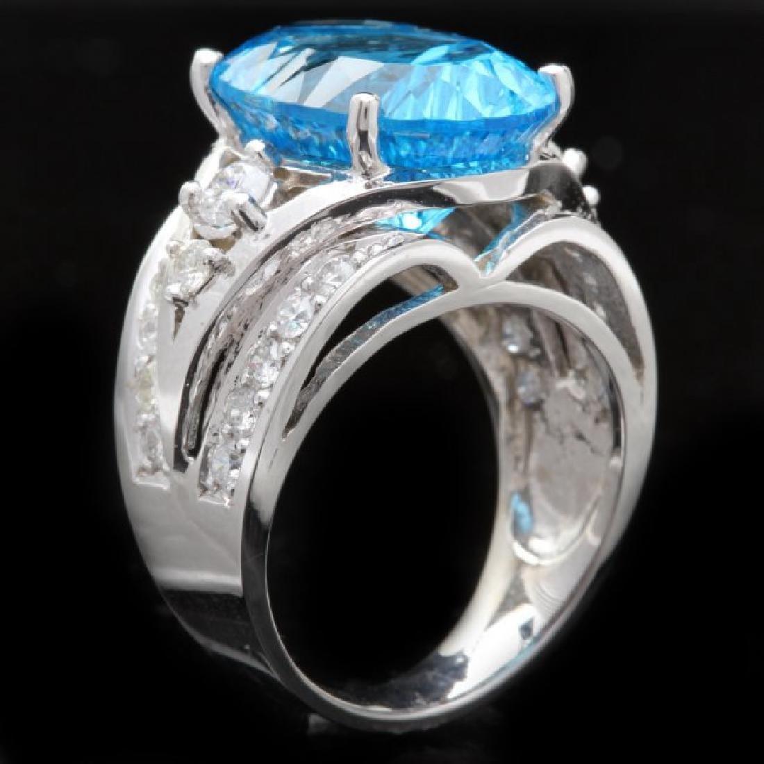 14k White Gold 11.00ct Topaz 1.10ct Diamond Ring - 2
