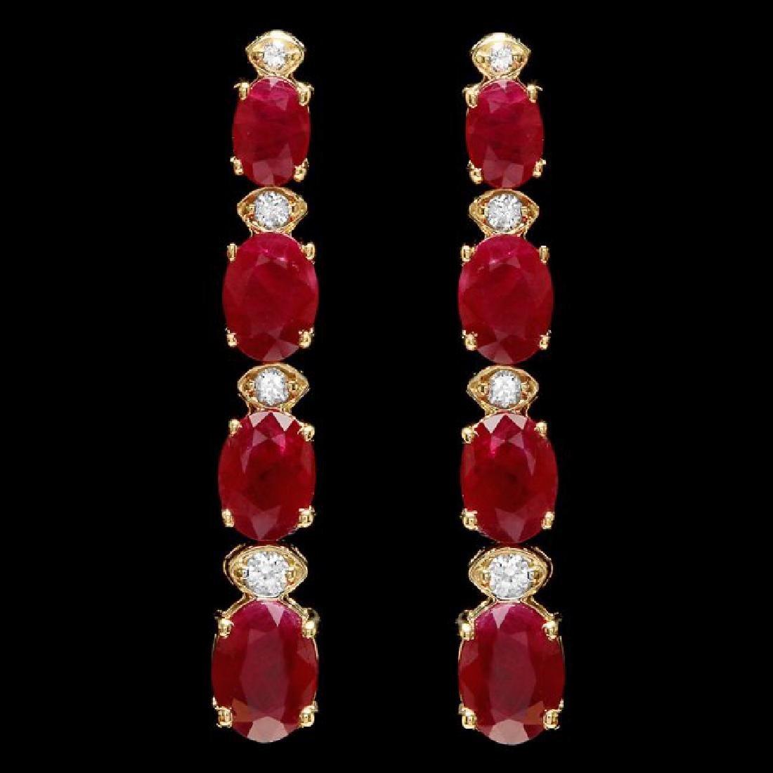 14k Gold 8.00ct Ruby 0.30ct Diamond Earrings - 2