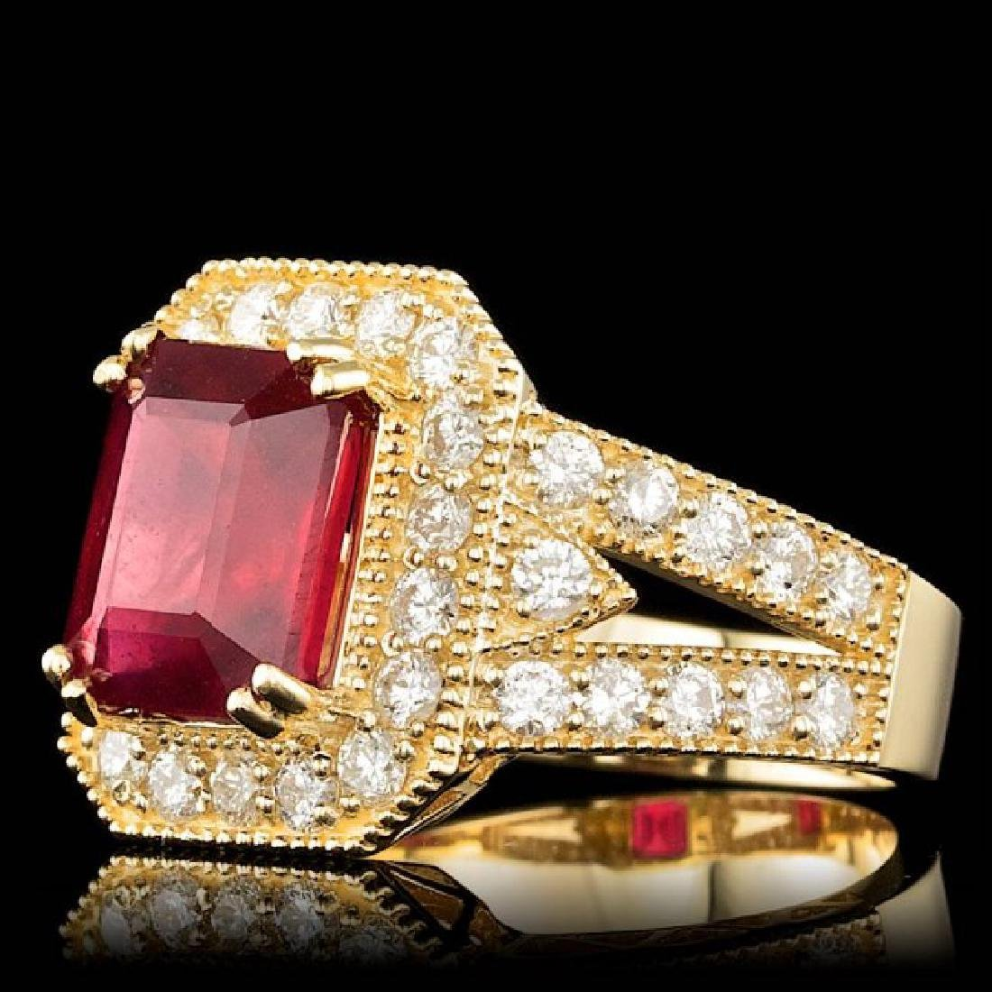 14k Yellow Gold 5.00ct Ruby 1.50ct Diamond Ring - 2