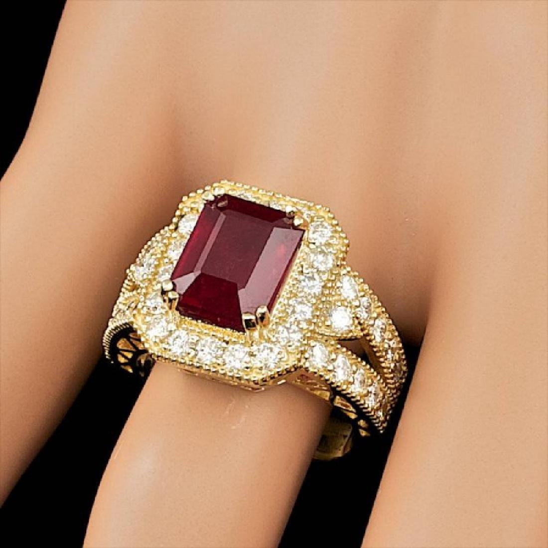 14k Yellow Gold 5.00ct Ruby 1.50ct Diamond Ring - 4
