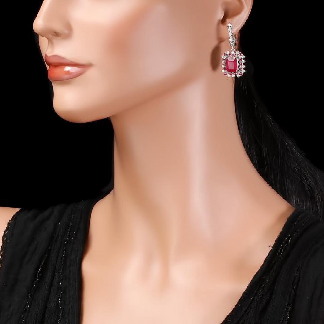 14k Gold 11.4ct Ruby 1.50ct Diamond Earrings - 3