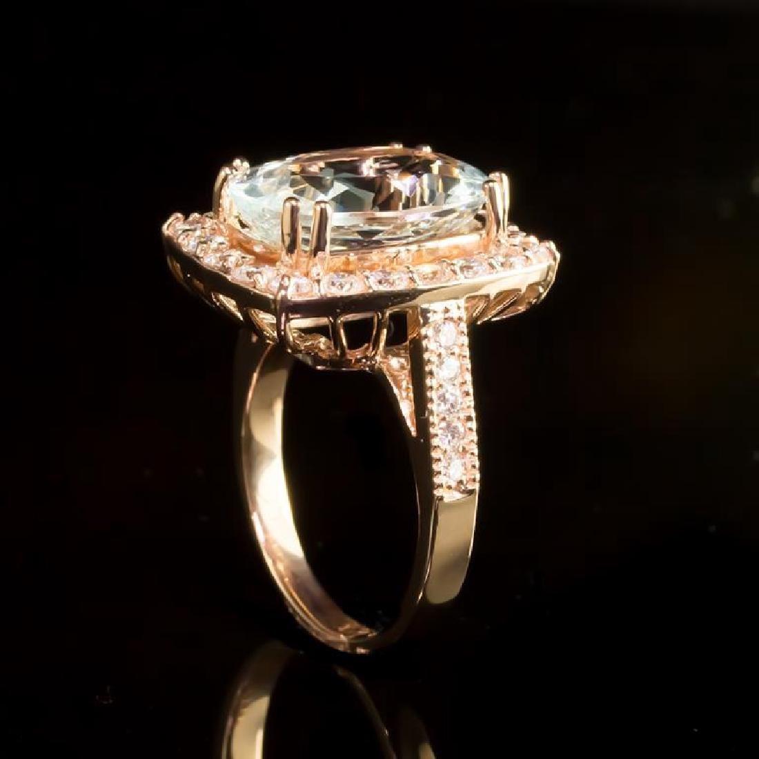 14K Gold 6.50ct Aquamarine 1.41ct Diamond Ring - 3