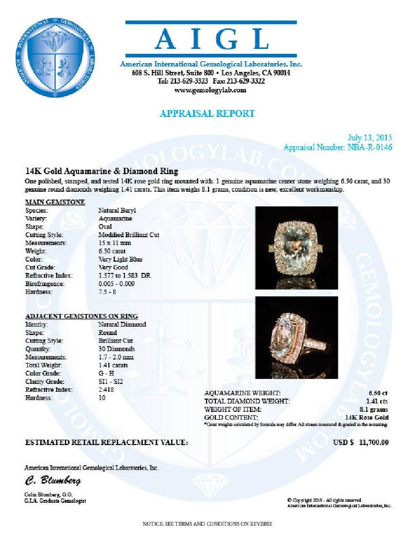 14K Gold 6.50ct Aquamarine 1.41ct Diamond Ring - 4