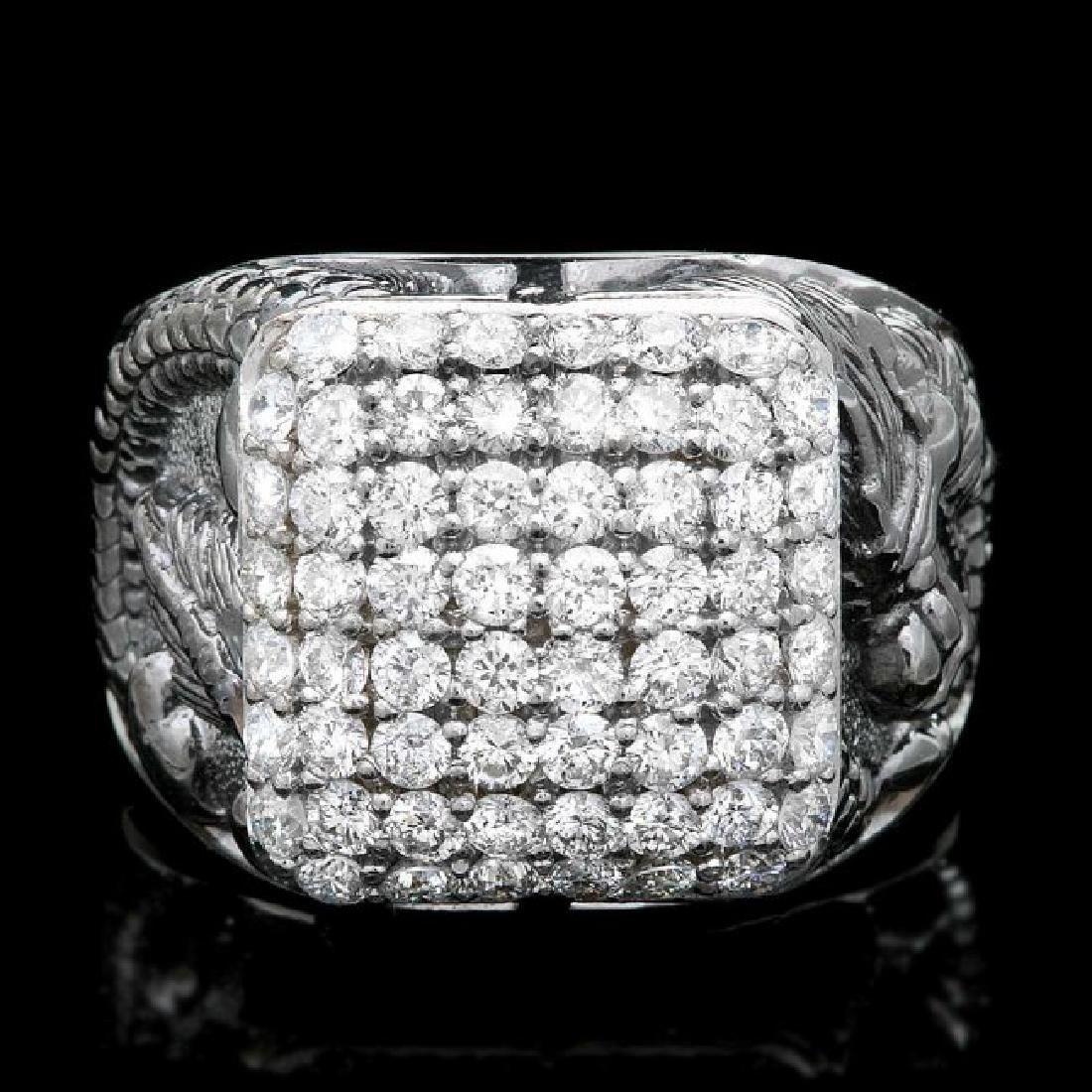 14k White Gold 2.20ct Diamond Mens Ring - 2