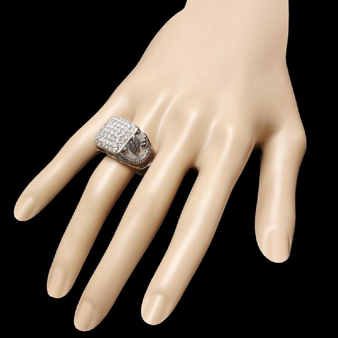 14k White Gold 2.20ct Diamond Mens Ring - 3