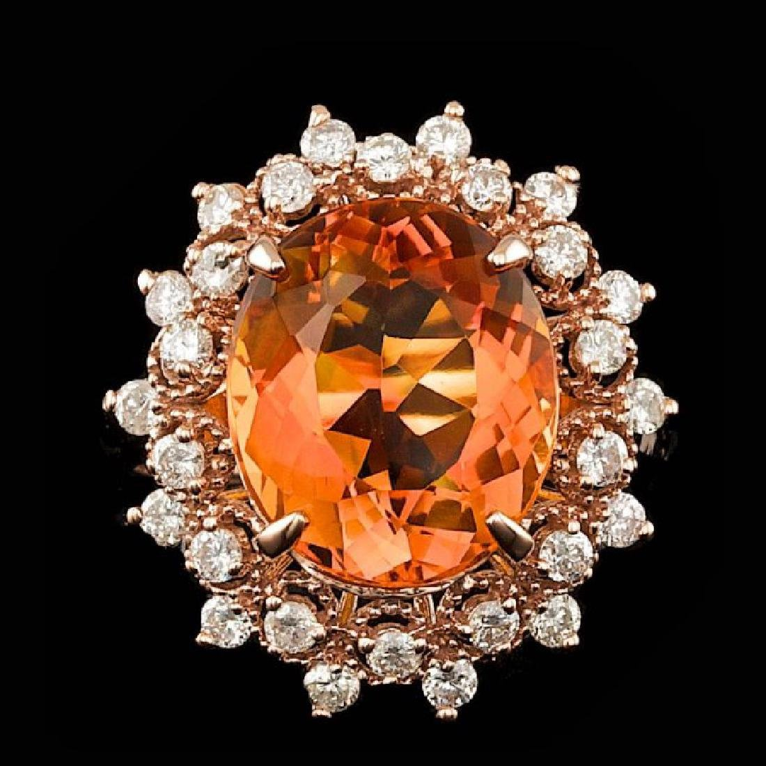 14k Rose Gold 5.50ct Citrine 0.80ct Diamond Ring