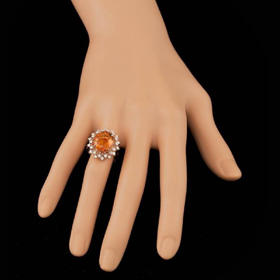14k Rose Gold 5.50ct Citrine 0.80ct Diamond Ring - 4