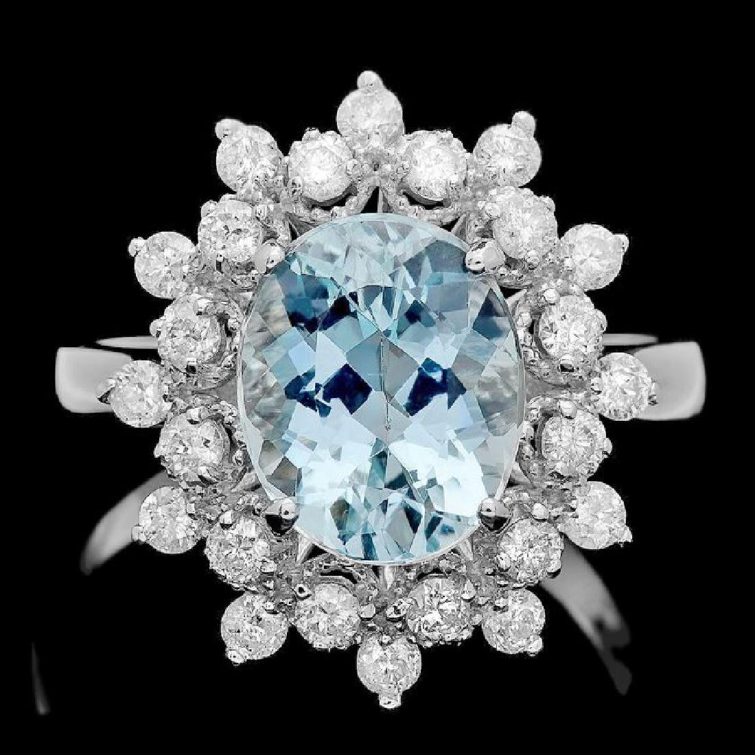 14k Gold 2.70ct Aquamarine 0.75ct Diamond Ring