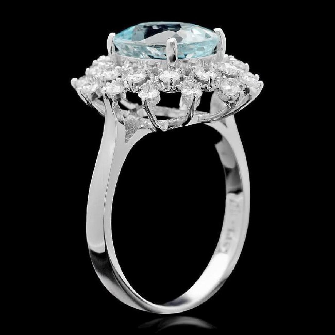 14k Gold 2.70ct Aquamarine 0.75ct Diamond Ring - 3