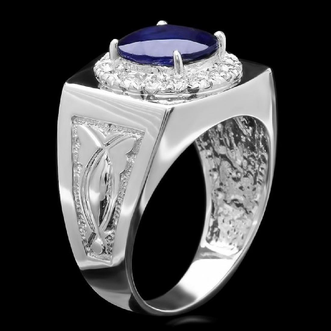14k Gold 4.00ct Sapphire 0.60ct Diamond Mens Ring - 2