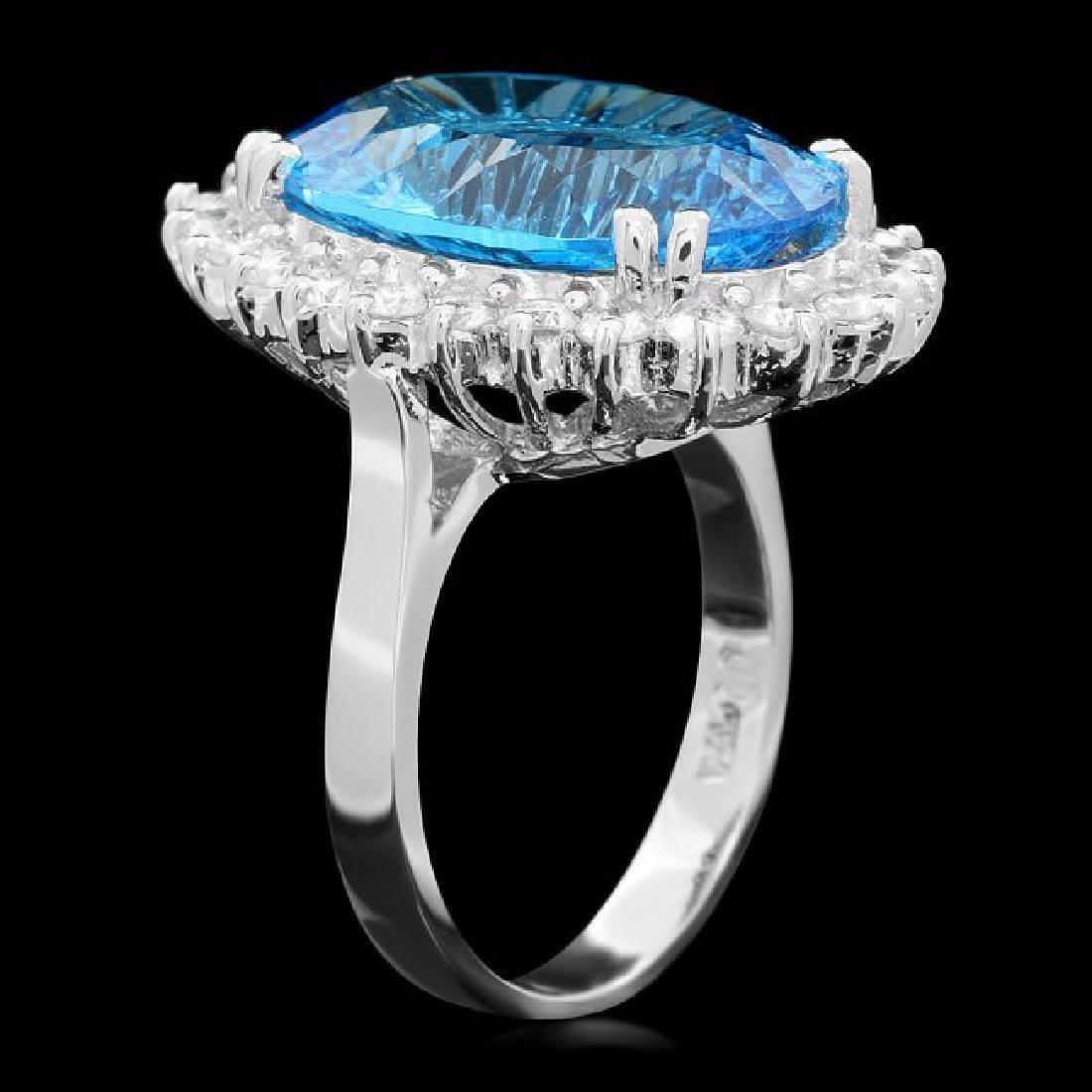 14k White Gold 11.5ct Topaz 1.10ct Diamond Ring - 2