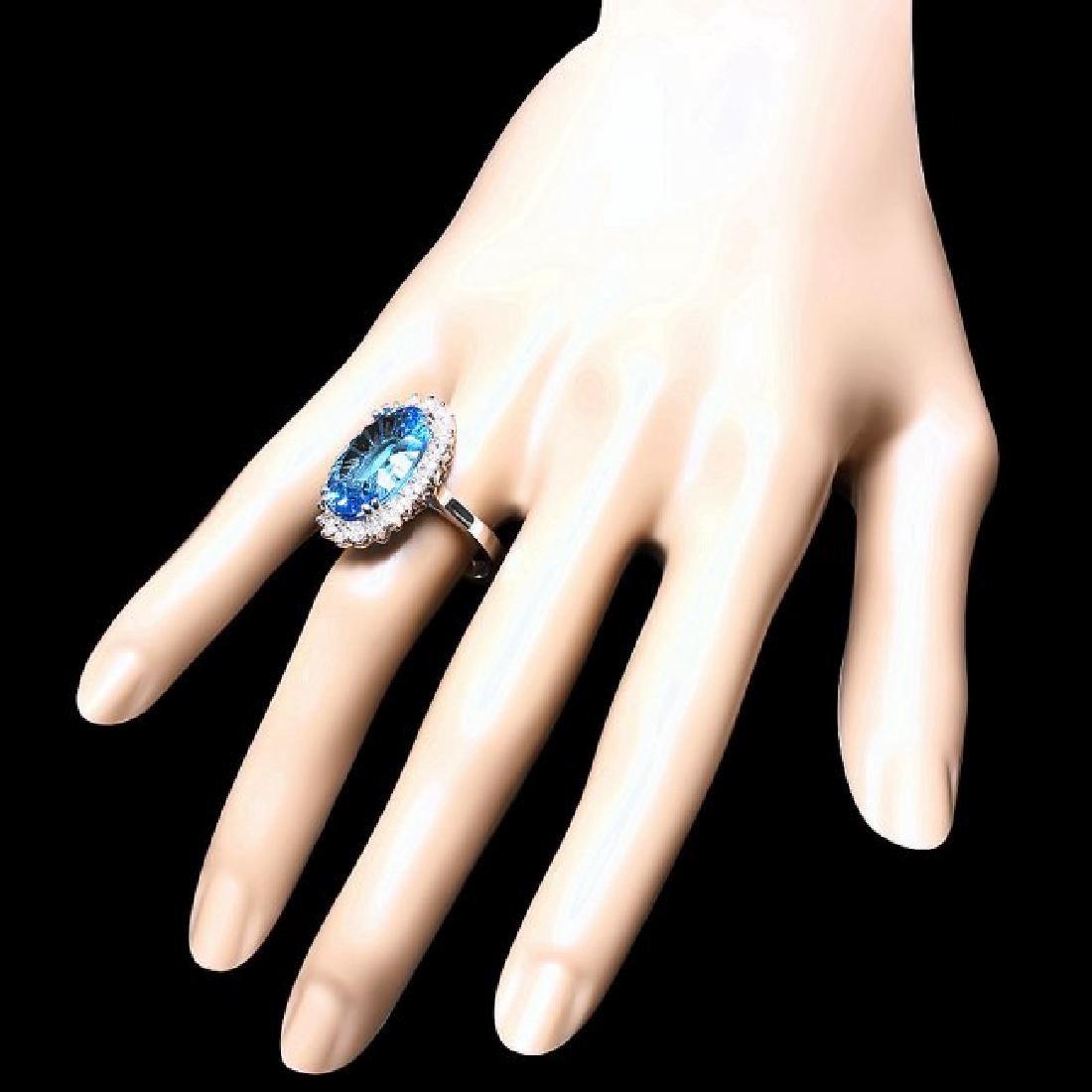 14k White Gold 11.5ct Topaz 1.10ct Diamond Ring - 3