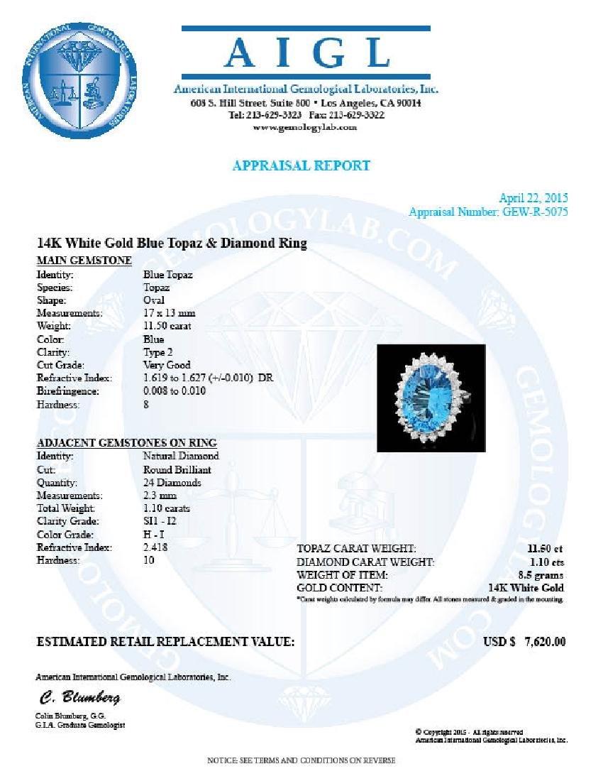 14k White Gold 11.5ct Topaz 1.10ct Diamond Ring - 4