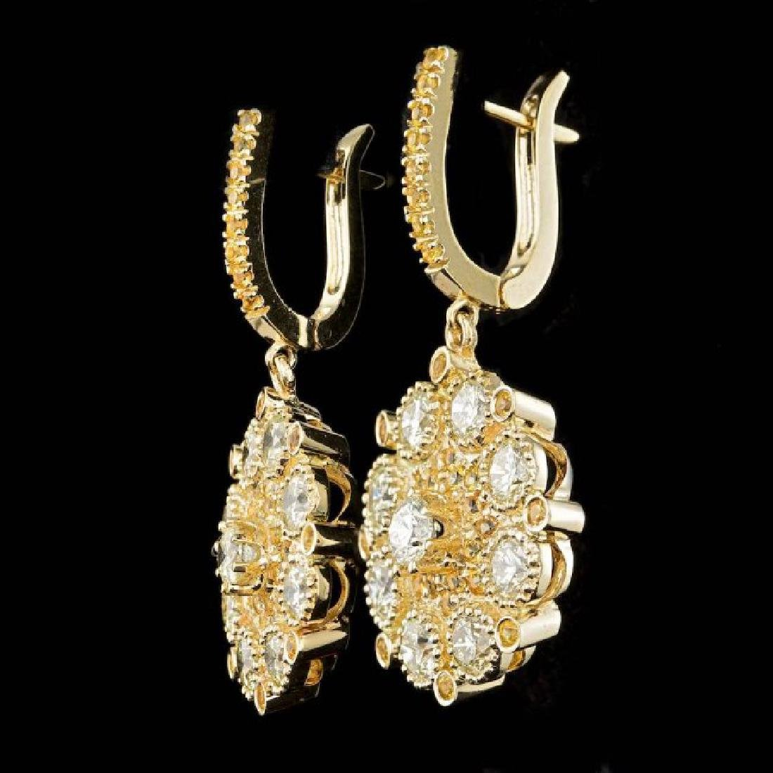 14k Yellow Gold 6.4ct Diamond Earrings - 2