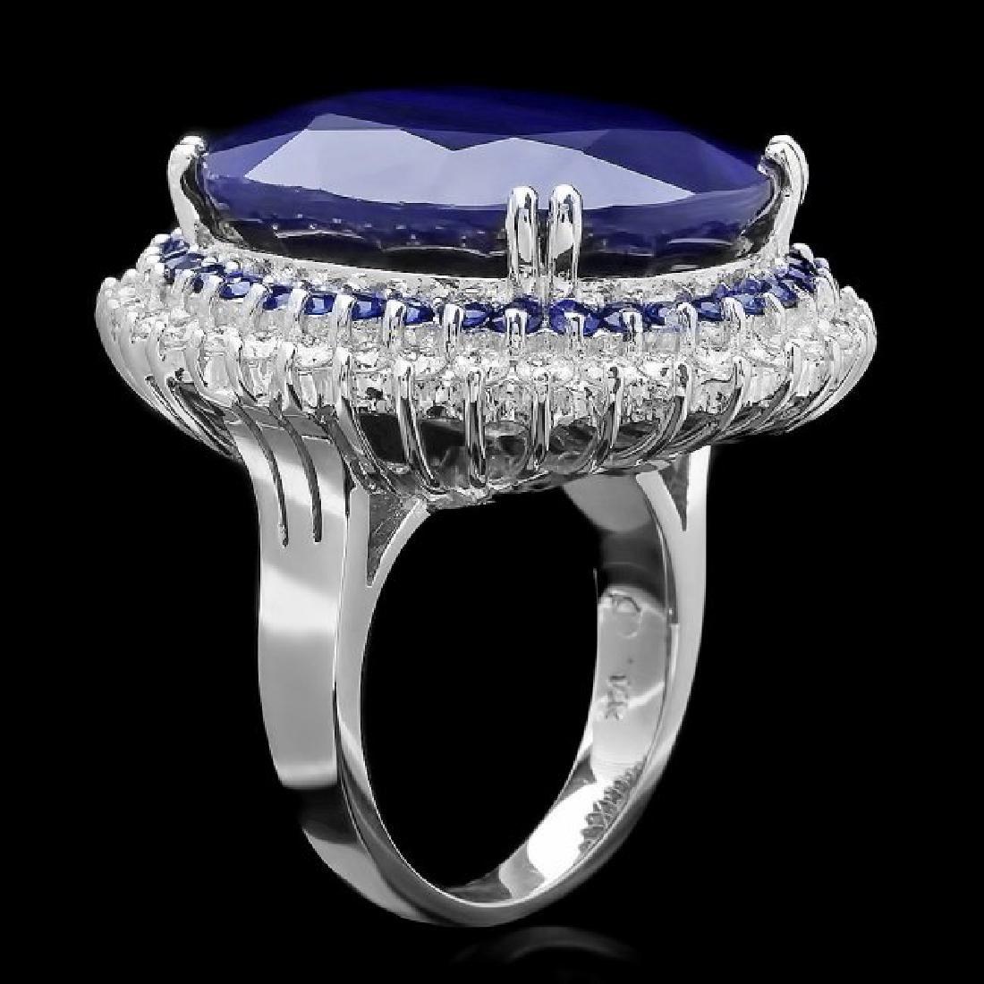 14k Gold 44.4ct Sapphire 1.35ct Diamond Ring - 2