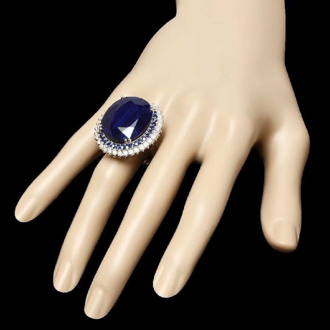 14k Gold 44.4ct Sapphire 1.35ct Diamond Ring - 3