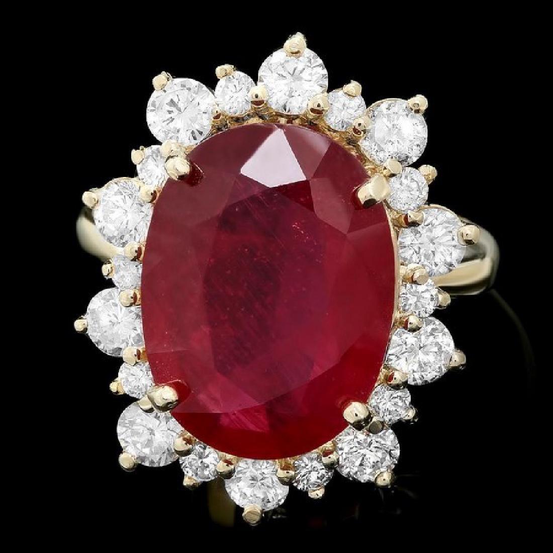 14k Yellow Gold 9.5ct Ruby 1.80ct Diamond Ring