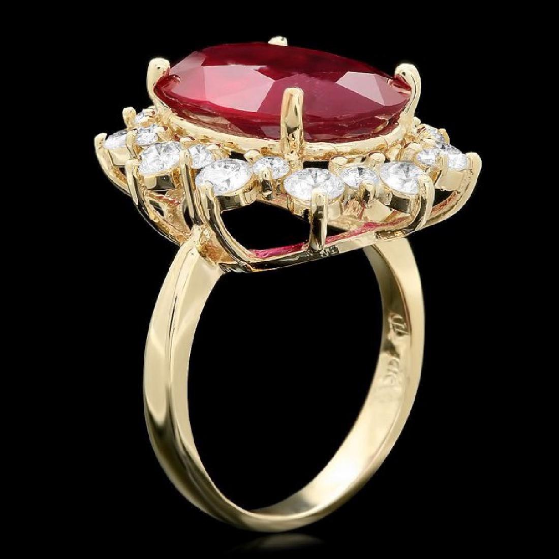14k Yellow Gold 9.5ct Ruby 1.80ct Diamond Ring - 2