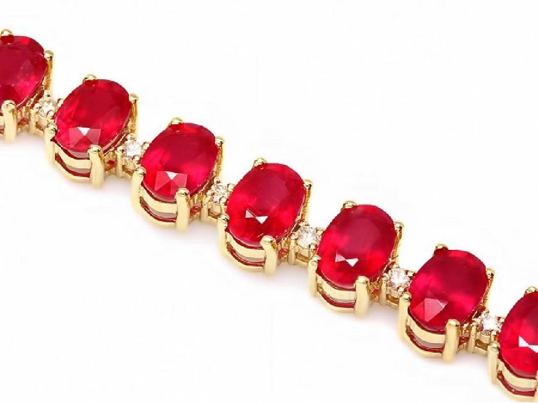 14k Gold 32.00ct Ruby 0.80ct Diamond Bracelet - 2