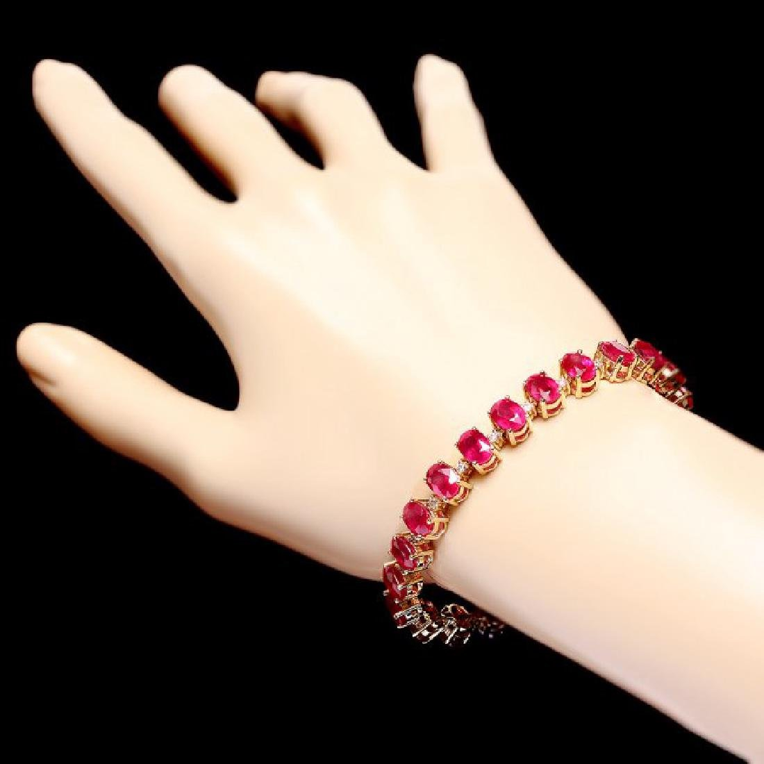 14k Gold 32.00ct Ruby 0.80ct Diamond Bracelet - 4