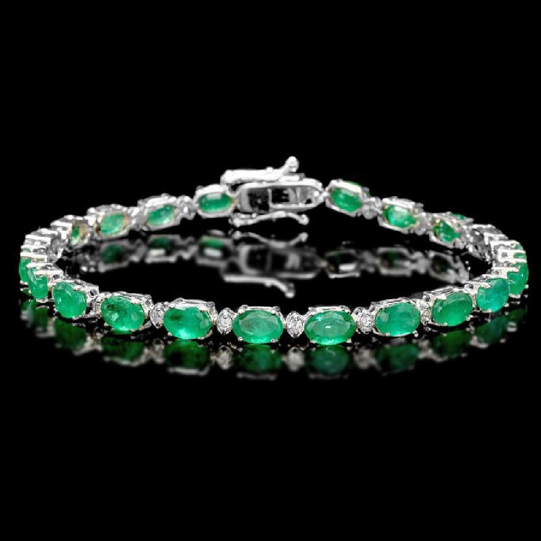 18k Gold 11ct Emerald 0.60ct Diamond Bracelet