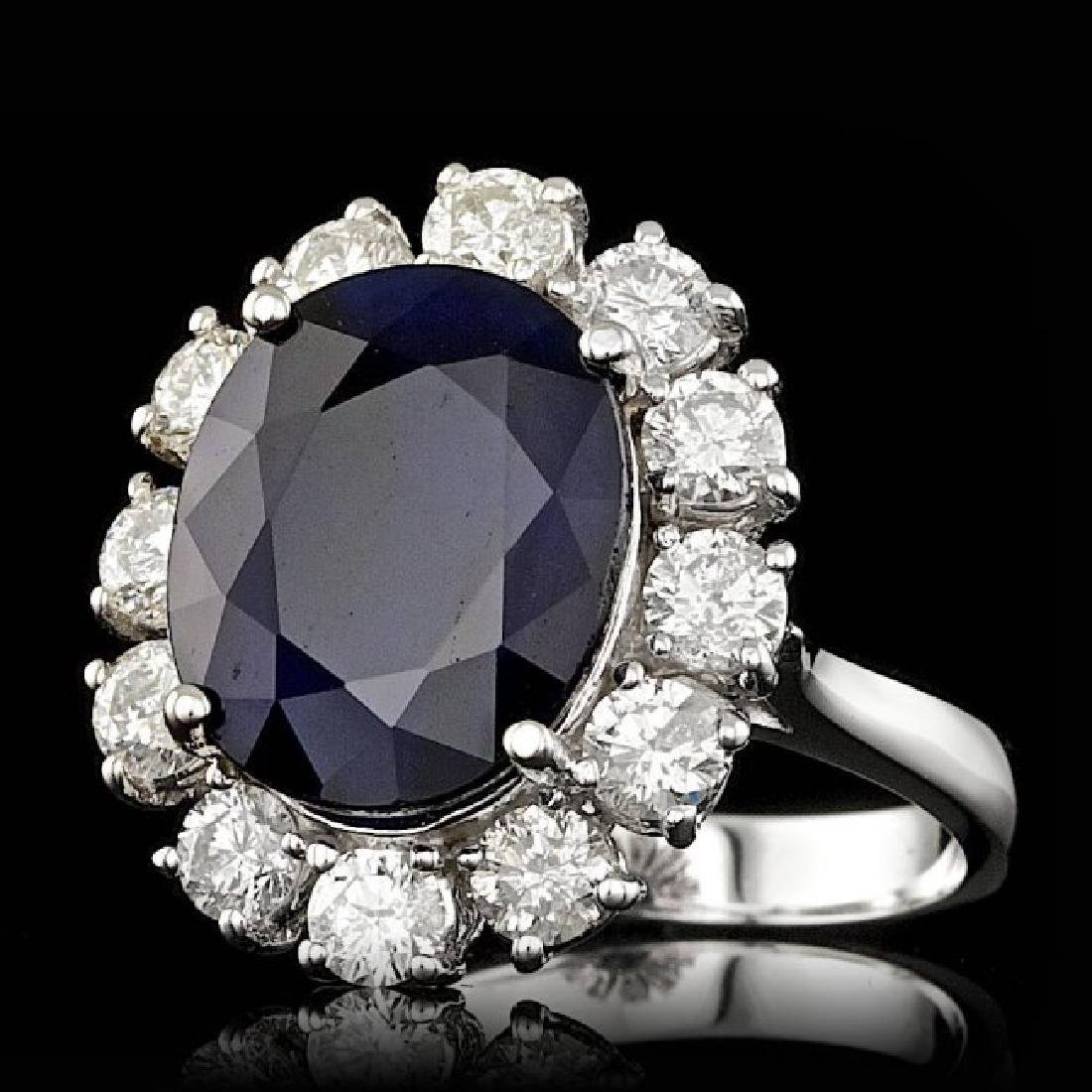 14k Gold 8.00ct Sapphire 1.70ct Diamond Ring - 2