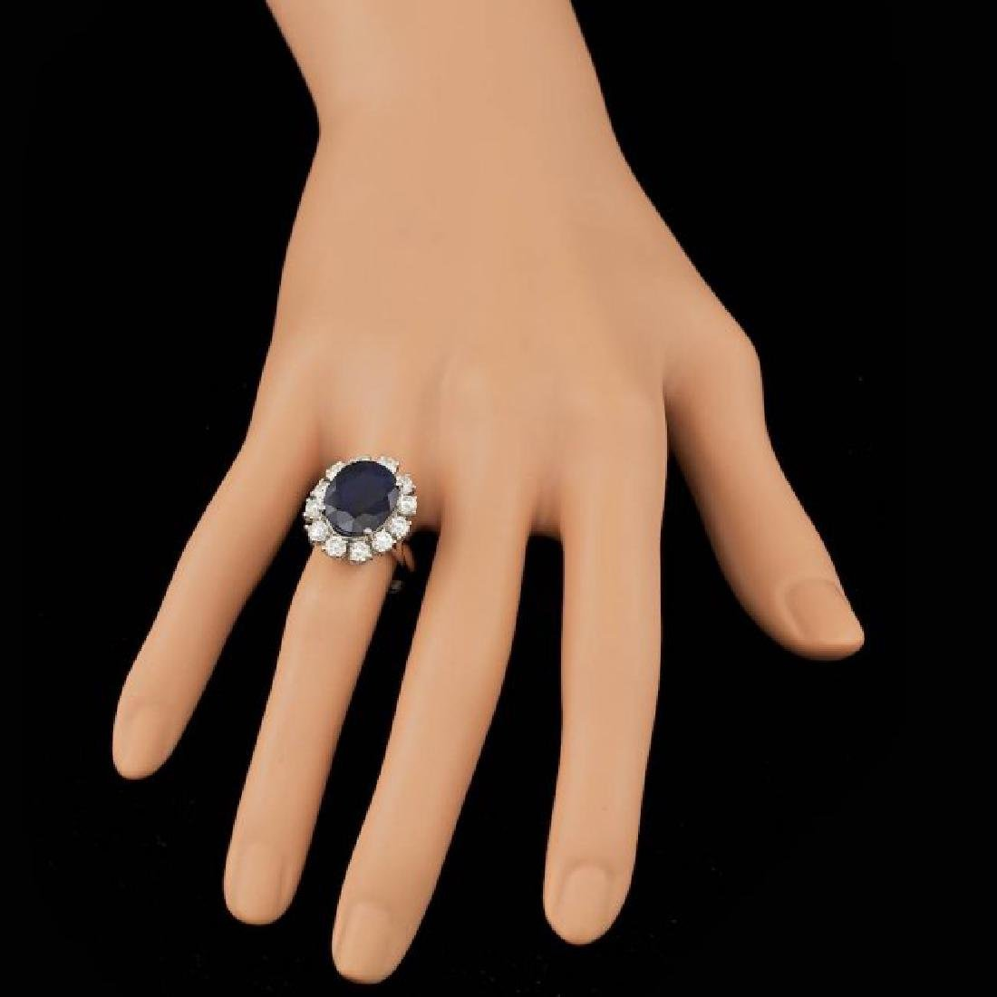 14k Gold 8.00ct Sapphire 1.70ct Diamond Ring - 4