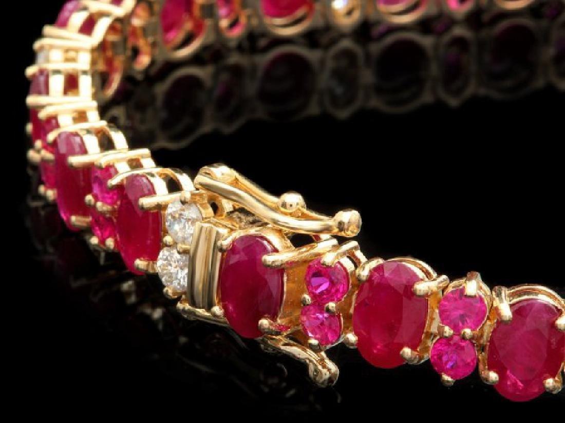 14k Yellow Gold 18ct Ruby 1.15ct Diamond Bracelet - 2