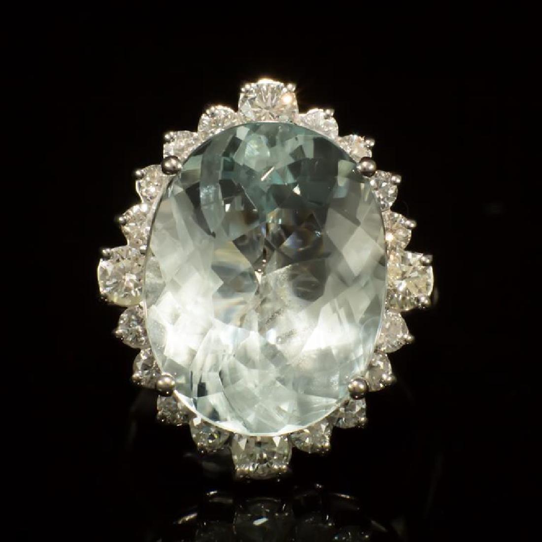 14K Gold 11.83ct Aquamarine 1.30ct Diamond Ring